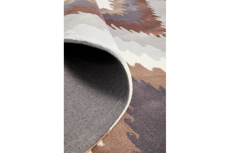 Ikat Chevron Beige Brown Rug 225x155cm