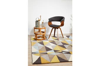 Yellow and Sky Blue Crystal Design Rug