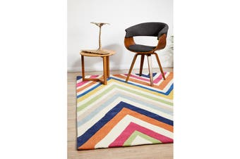 Stunning Multi Coloured Chevron Rug 165x115cm