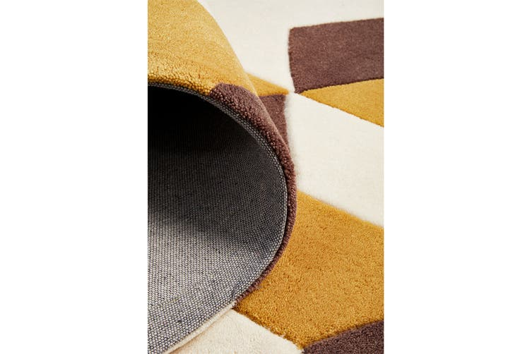 Cube Design Rug Yellow Brown White 165x115cm