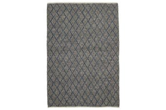 Luxury Madras Felted Wool Rug Blue Grey 225X155cm