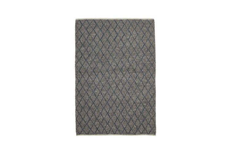 Luxury Madras Felted Wool Rug Blue Grey 280X190cm