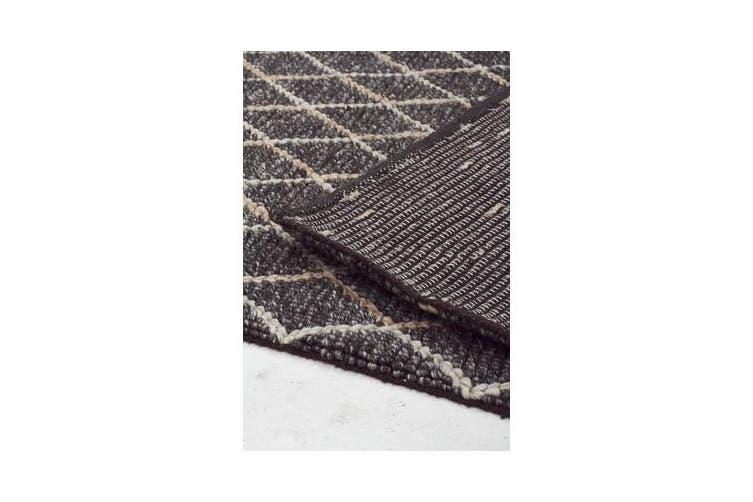 Luxury Madras Felted Wool Rug Blue Charcoal 225X155cm
