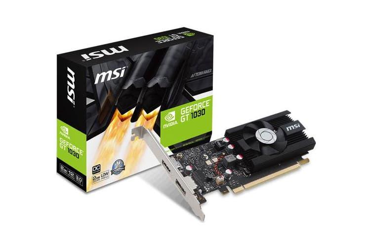 MSI NVIDIA GT 1030 2G LP OC Low Profile Video Card - GDDR5 DP/HDMI 1265/1518MHz