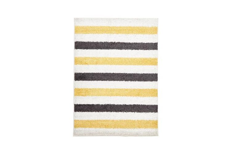 Stencil Shag Rug Yellow Charcoal White 290x200cm