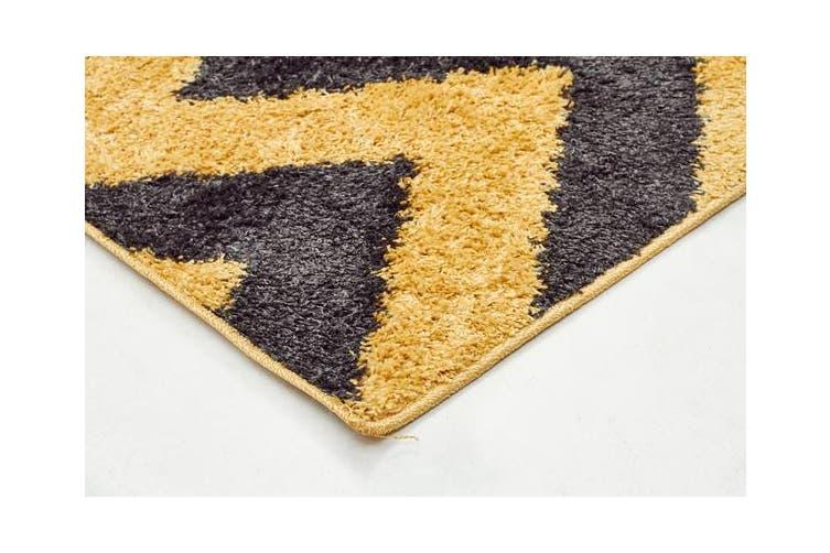 Ziggy Shag Rug Yellow Charcoal 330x240cm