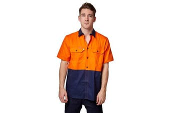Hard Yakka Koolgear Ventilated Short Sleeve High-Vis Shirt (Orange/Navy)