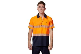 Hard Yakka High Visibility Two-Tone Short Sleeve Ventilated Polo Top (Orange)