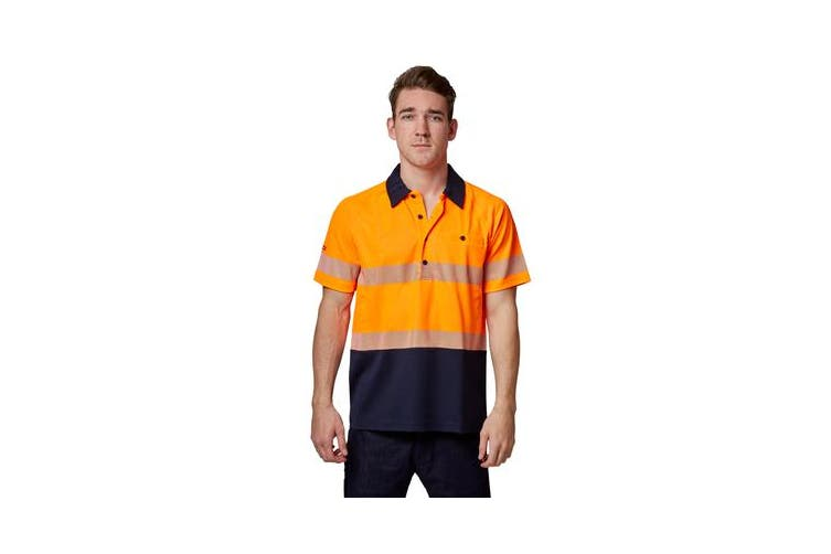 Hard Yakka High Visibility Two-Tone Short Sleeve Ventilated Polo Top (Orange, Size M)