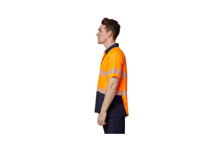 Hard Yakka High Visibility Two-Tone Short Sleeve Ventilated Polo Top (Orange, Size L)