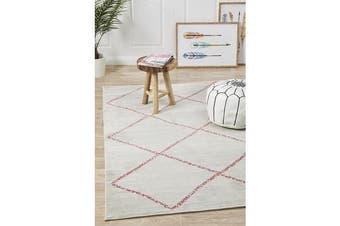 Silver & Pink Pastel Boho Geometric Rug 280X180cm
