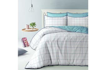 Style & Co 100 % Cotton Reversible Quilt Cover Set Double Water Check