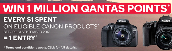 Win 1 Million Qantas Points with Eligible Canon Purchases. Terms and conditions apply. Click for details.