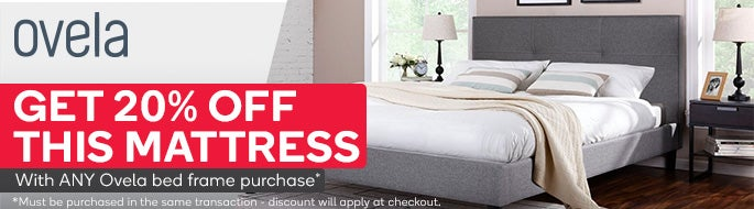 Get 20% off this mattress with ANY Ovela bed frame purchase. Must be purchased in the same transaction - discount will apply at checkout