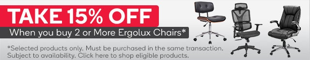 Get 15% Off when you buy 2 or more eligible Ergolux Office Chairs
