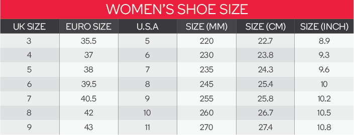 Puma Unisex Shoes Size Chart