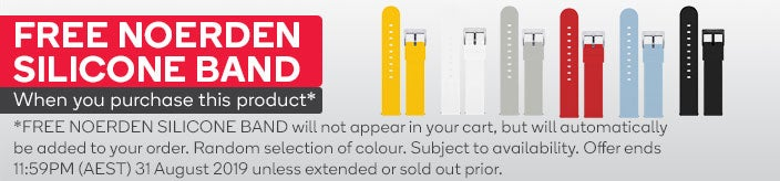 FREE NOERDEN SILICONE BAND will not appear in your cart, but will automatically be added to your order. Random selection of colour. Subject to availability. Offer ends 11:59PM (AEST) 31 August 2019 unless extended or sold out prior.