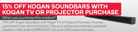 15% OFF Kogan Soundbars with Kogan TV or Projector Purchase. Must be purchased in the same transaction. Discount will be automatically applied at checkout. Subject to availability. Offer ends 11:59PM (AEST) 30 June 2019 unless extended or sold out prior.