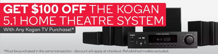 Get $100 OFF the Kogan 5.1 Home Theatre system. Must be purchased in the same transaction - discount will apply at checkout
