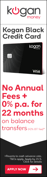 Kogan Black Credit Card - 0% p.a. for 22 Months on Balance Transfers