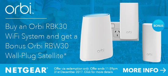 Buy an Orbi RBK30 Wifi system get a Bonus RBW30 Satellite