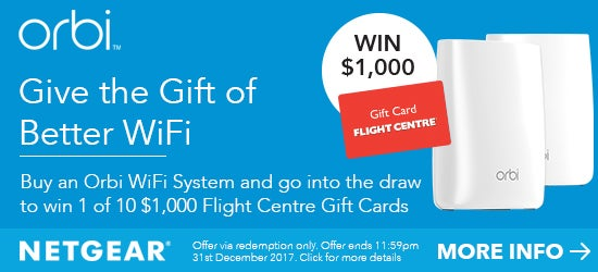 Buy Netgear Orbi to Win Flight Centre Gift Card