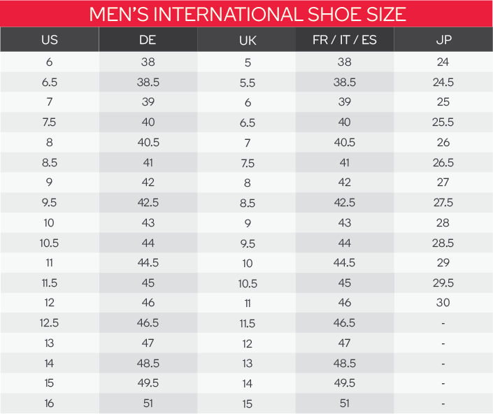Puma Men's Shoes Size Chart