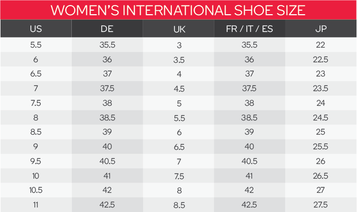 Puma Women's Shoes Size Chart