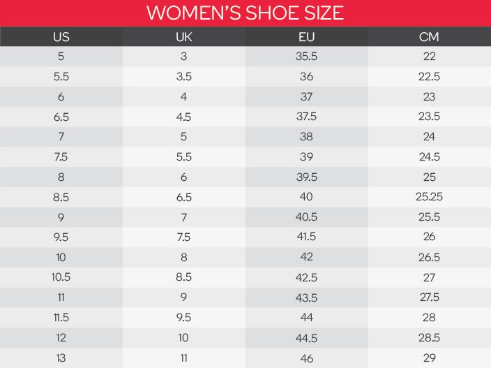 Asics Women's Shoes Size Chart