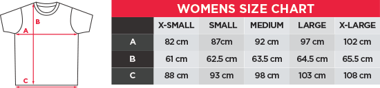 bay6 Women's T-Shirt Size chart