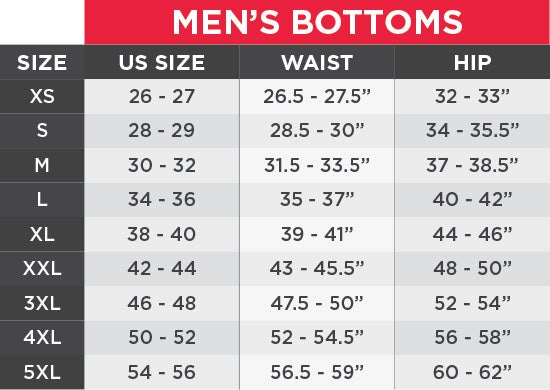 UA Men's Bottom Size Chart