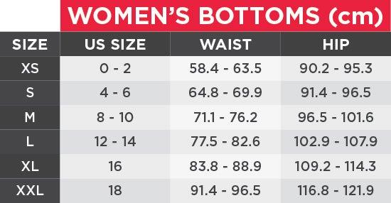 UA Women's Bottoms Size Chart