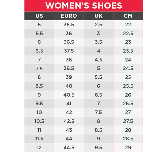 UA Women's Shoes Size Chart