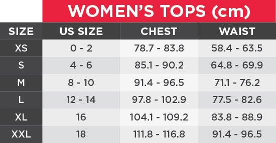 UA Women's Tops Size Chart