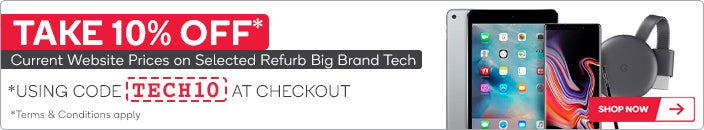 10% OFF Selected Big Brand Tech Refurbs using code 'TECH10' at Checkout*