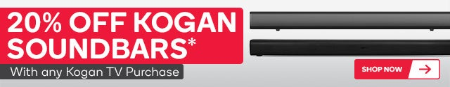 Get 20% off Kogan Soundbars with any TV purchases. Must be purchased in the same transaction - discount will apply at checkout. Subject to availability.
