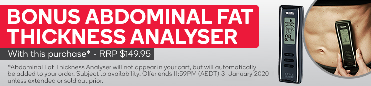Abdominal Fat Thickness Analyser will not appear in your cart, but will automatically be added to your order. Subject to availability. Offer ends 11:59PM (AEDT) 31 January 2020 unless extended or sold out prior.