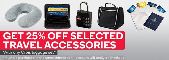 Get 25% off selected travel accessories with Orbis luggage set purchases. Must be purchased in the same transaction - discount will apply at checkout