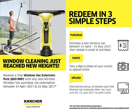 Receive a free Window Vac Extension Pole with any Karcher Window Vac purchase