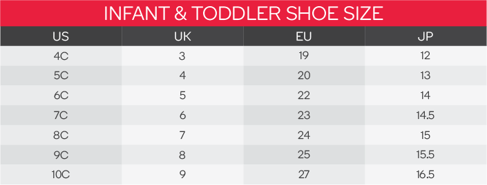 Puma Infant Shoes Size Chart