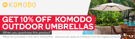 Get 10% Komodo Outdoor Umbrellas when you purchase Komodo 4 Burner Hooded BBQ with Side Burner. Must be purchased in the same transaction - discount will apply at checkout