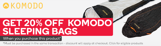 Get 20% selected Komodo Sleeping Bags when you purchase a Komodo 8 Person Screened Tent. Must be purchased in the same transaction - discount will apply at checkout