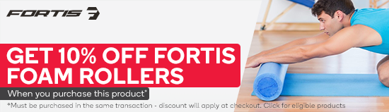 Get 10% off Fortis Foam Rollers with eligible Fortis equipment purchases. Must be purchased in the same transaction - discount will apply at checkout