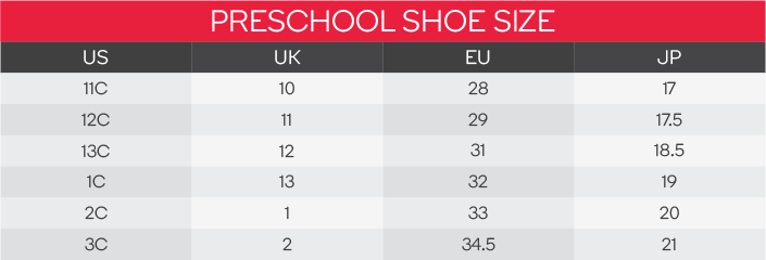 Puma Preschool Shoes Size Chart