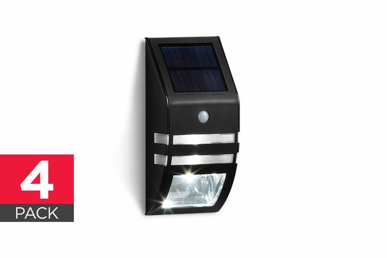 Solar Powered Wall Mounted Motion Sensor LED Light (Black, Mina) - 4 Pack