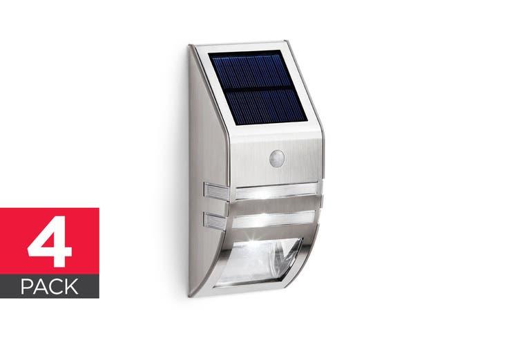 Solar Powered Wall Mounted Motion Sensor LED Light (Silver, Mina) - 4 Pack