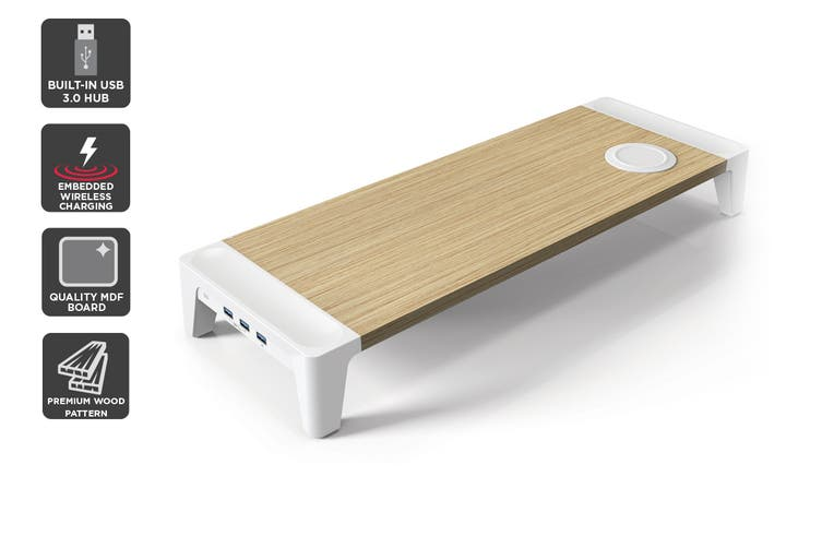 Kogan Wood Top Laptop & Monitor Stand with USB 3.0 Hub and Qi Charger (600mm)