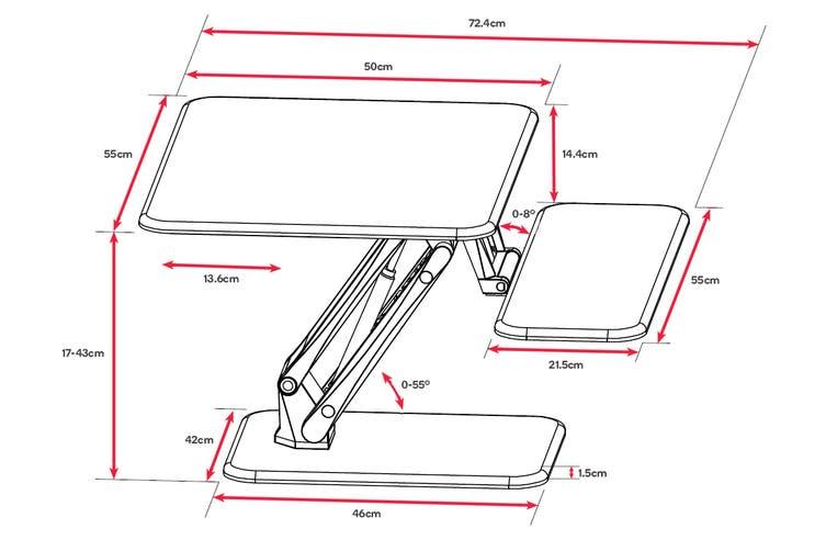 Ergolux Lite Height Adjustable Sit Stand Desk Riser (Compact, White)