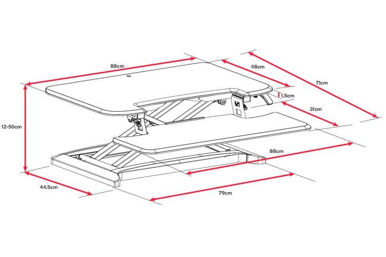 Ergolux DuoPro Height Adjustable Sit Stand Desk Riser (Medium, White)