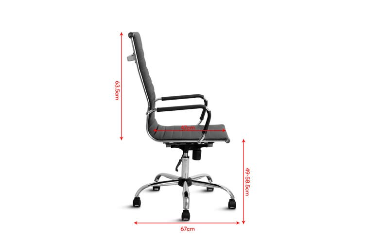 Ergolux Eames Replica High Back Ribbed Office Chair (Black)